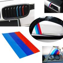 iJDMTOY 10-Inch M-Colored Stripe Decal Sticker Compatible with BMW Exterior or Interior Decoration Such As Grille Fender Hood Side Skirt Bumper Side Mirror Dashboard Steering Wheel, etc