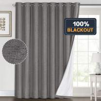 100% Blackout Linen Look Patio Door Curtain 96 Inches Long Extra Wide Thermal Insulated Grommet Curtain Drapes for Living Room/Sliding Glass Door, Primitive Winow Treatment Decoration, Grey