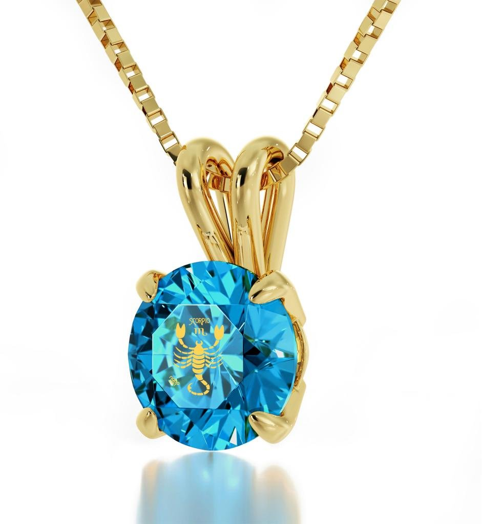 """Gold Plated Scorpio Necklace Zodiac Pendant for Birthdays 24th October to 22nd November 24k Gold Inscribed with Star Sign and Symbol on Solitaire Set Swarovski Crystal Stone, 18"""" Gold Filled Chain"""