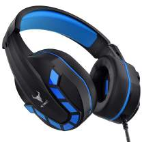 Kikc Gaming Headset with Mic for PS4, PS5, Xbox, PC, Switch, Controllable Volume Gaming Headphones with Soft Earmuffs for Mobile Phone, iPad, and Notebook, 40mm Drivers, 3.5 mm Audio Jack-Blue…