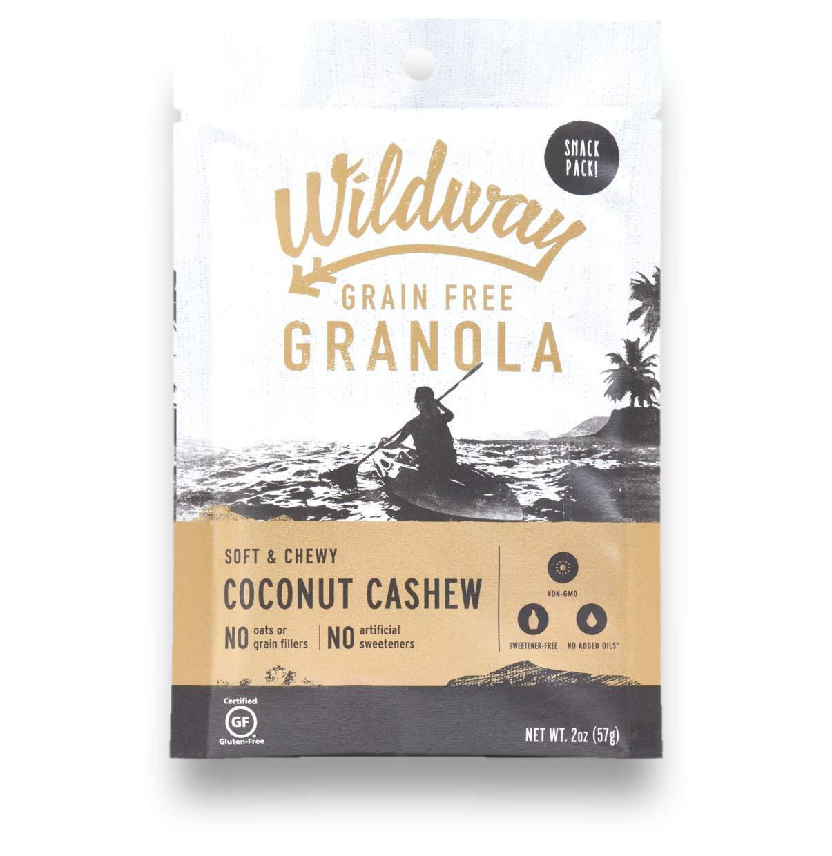 Wildway Vegan Granola   Coconut Cashew   Certified Gluten Free Granola Snack Packs, Grain Free, Paleo, Non GMO, No Artificial Sweetener   4 Pack