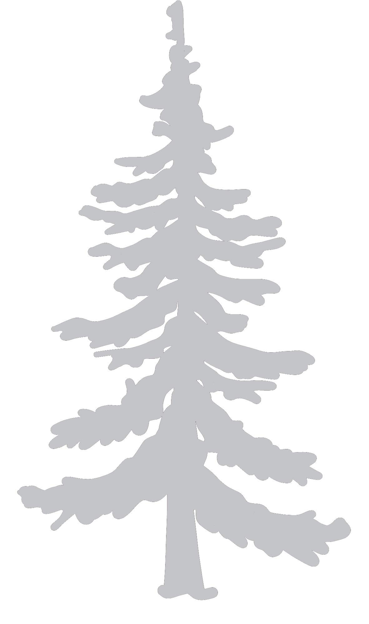 Pine Tree Vinyl Decal - 8 Inches - For Cars, Trucks, Windows, Laptops, Tablets, Outdoor-Grade 2.5mil Thick Vinyl - Silver Gray