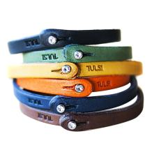 Genuine Italian Leather Bracelet with Swarovski Crystal Closure   Multiple Colors Available   Handcrafted in Italy (Te Color)
