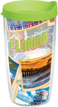 Tervis 1237109 Florida Collage Tumbler with Wrap and Lime Green Lid 16oz, Clear