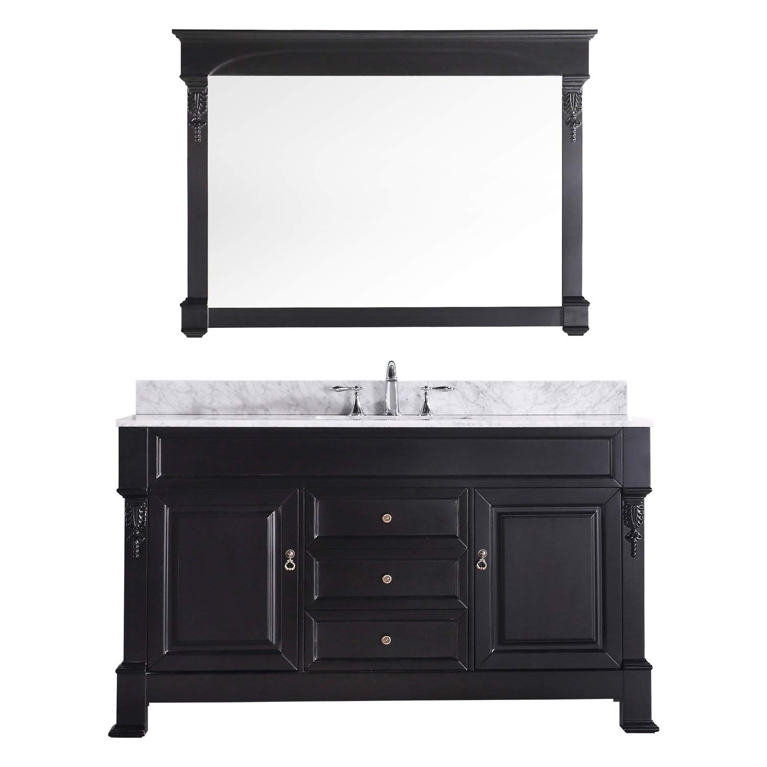 """Virtu USA GS-4060-WMSQ-DW-002 Huntshire 60"""" Single Bathroom Vanity in Dark Walnut with Marble Top and Square Sink with Polished Chrome Faucet and Mirror, 60 inches,"""