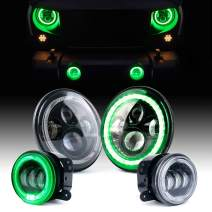 Xprite 7 Inch 90W CREE LED Headlights & 4 Inch 60W Fog Lights Combo w/Green Halo for 2007-2018 Jeep Wrangler JK