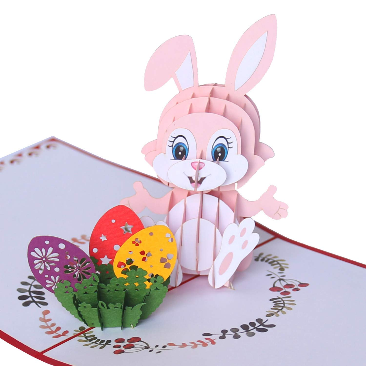 CUTEPOPUP Easter Popup Card with Funny Face Bunny, Vibrant Colors, Meticulous Details by Laser Cut for Grand-kids, Children, Your Family or Your Loved Ones at Easter