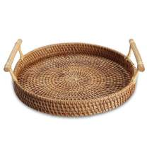 """YIWEN Handmade Round Rattan Serving Tray with Handles Woven Baskets, Basket for Fruit Bread Parties Coffee Breakfast Round Decorative Tray (11"""", 1pc)"""