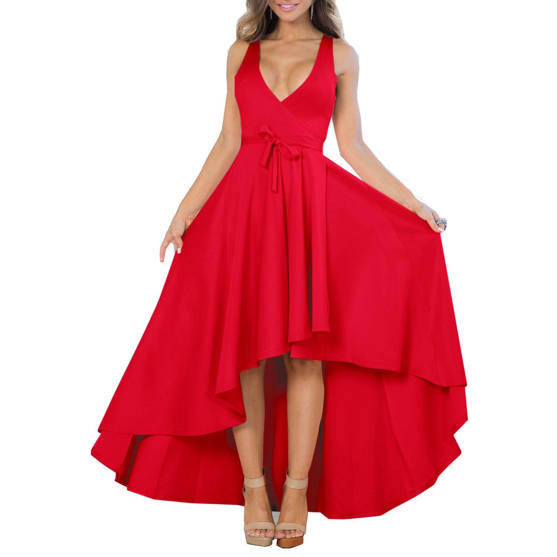 YS.DAMAI Women's Sexy V Neck Sleeveless High Low Hem Elegant Dress Cocktail Evening Party Dresses