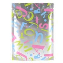 """Premium Matte Color Design Mylar Foil Flat Resealable Ziplock Pouch Bags (100/Pack) (4.3"""" x 6"""", Silver w/Alphabets)"""