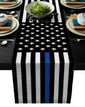 ARTSHOWING American Table Runners 13x70inch Decorative Table Runner for Dinner Parties & Events, Law Enforcement Thin Blue Line USA Flag