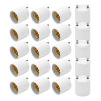 JACKYLED GU24 to E26 E27 Adapter 20-pack Heat Resistant Up to 200℃ Fire Resistant Converts GU24 Pin Base Fixture to E26 E27 Standard Screw-in Socket
