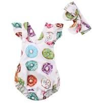 Imcute Cute Baby Girls Sleeveless Donut Tassel Romper Jumpsuit+Headband