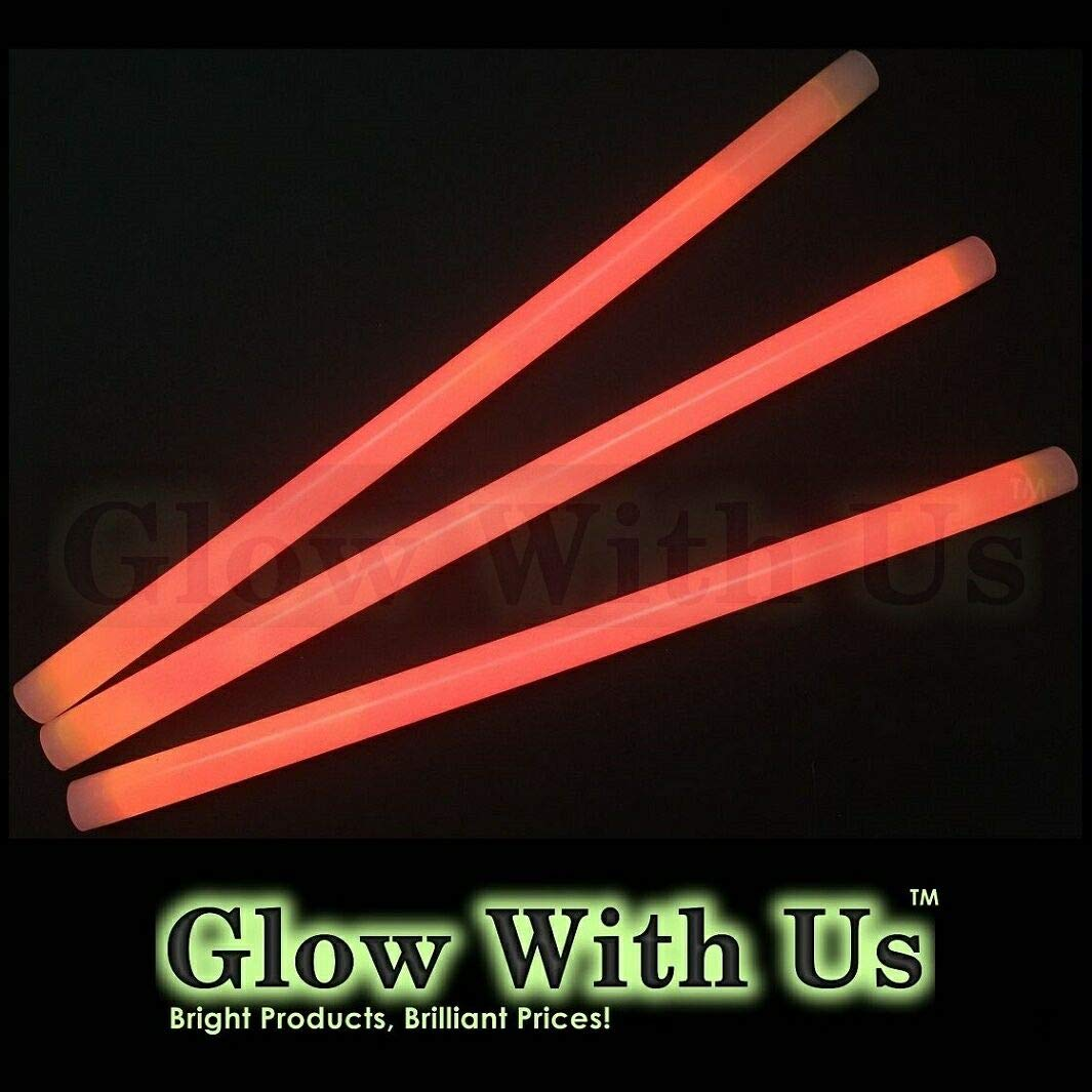 "Glow Sticks Bulk Wholesale, 10 12"" 15mm Dia. Orange Industrial Grade Jumbo Light Sticks, Bright Color, Glow 14 Hrs, Safety Glow Stick 3yrs Shelf Life, Ideal for Camping & Emergency, GlowWithUs Brand"
