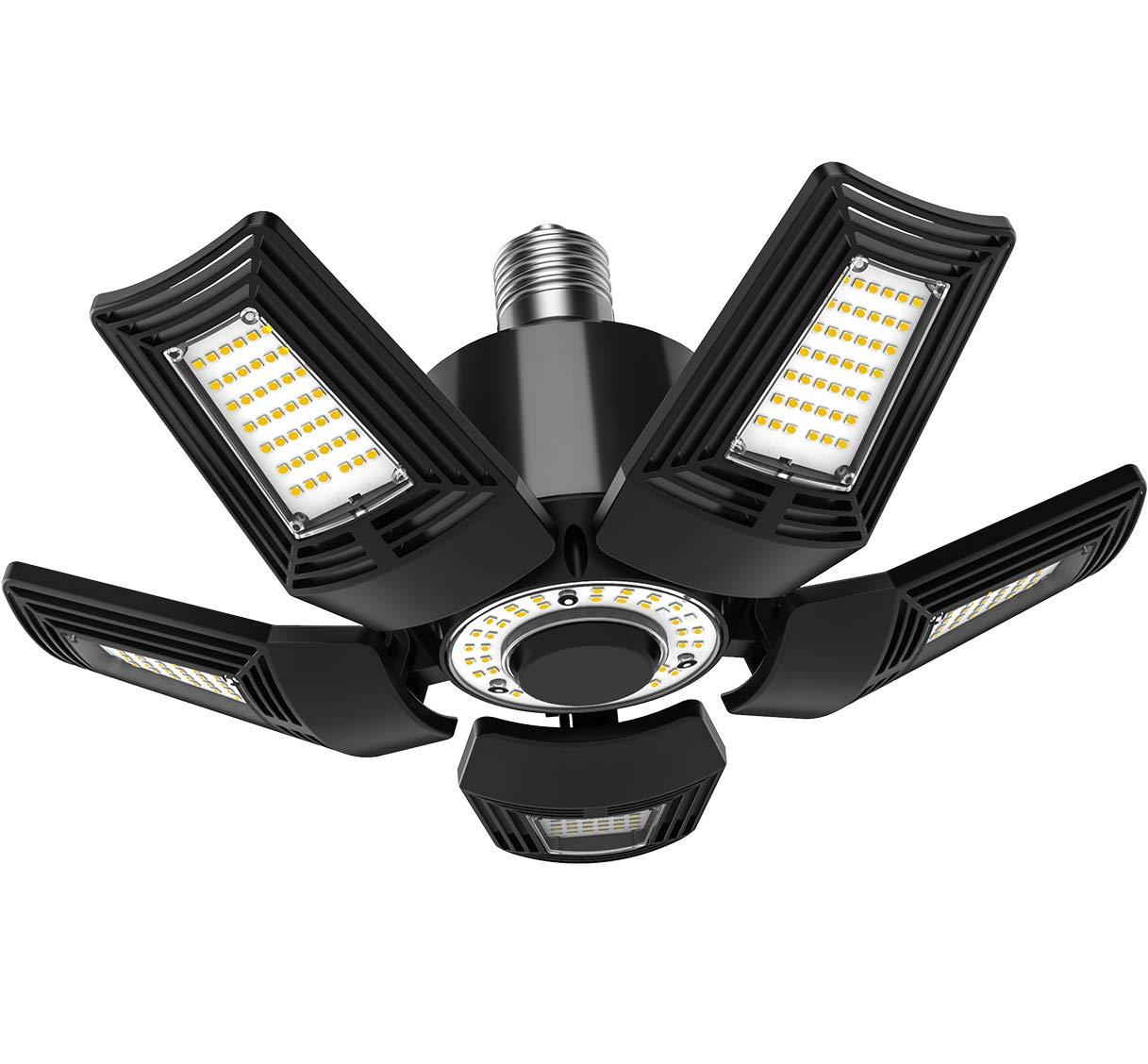 LED Garage Light Bulb 5-Leaf Adjustable Ceiling Lamp 14,000 Lumens 5000K Daylight E39 Mogul Base for Warehouse Garage Workshop Shop Barn Basement (100-277 V)