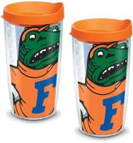 Tervis 1084680 Florida Gators Mascot Colossal Tumbler with Wrap and Orange Lid 2 Pack 16oz, Clear