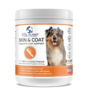 Vital Planet Skin and Coat Powder - Omega 3 Fatty Acid Supplement for Dogs - Ultimate Support for a Healthy Glossy Coat - 60 Scoops