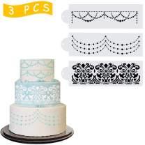 Wedding Cake Stencil Template, Kissbuty 3 Pcs Cake Decorating Embossing Plastic Spray Floral Cake Cookie Fondant Side Baking Mesh Stencil Mat Wedding Decor Tools (Flowers)