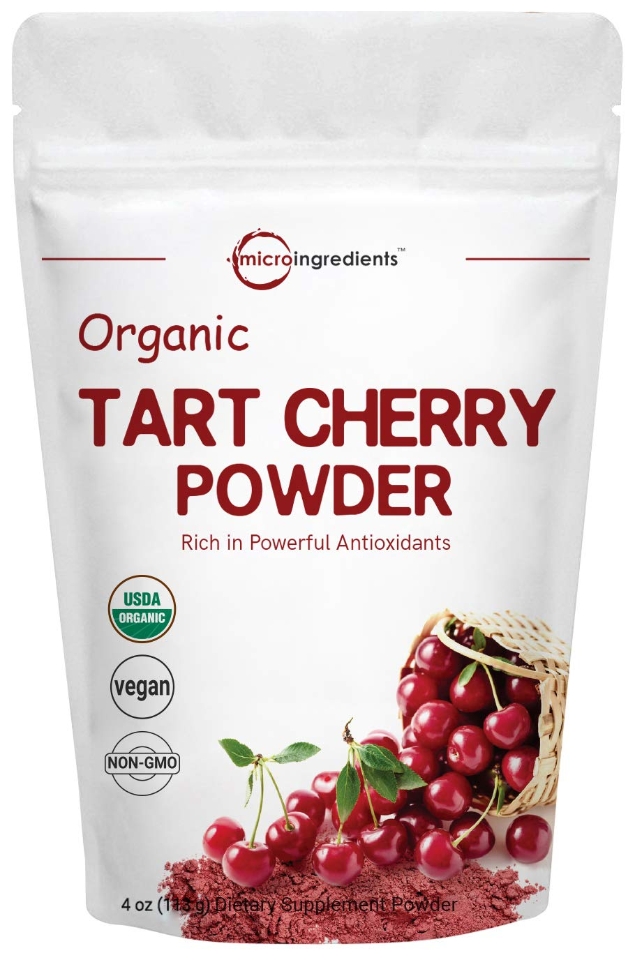 Sustainably US Grown, Organic Tart Cherry Powder, 4 Ounce, Pure Tart Cherry Supplement, Rich in Antioxidant and Flavonoids, Enhance Joint Health, Sleep Cycles and Immune System, Vegan Friendly