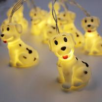 Elufly Indoor Outdoor Cute Animal Ornaments Battery Operated 10 LED String Lights Birthday Party Wedding Christmas Tree Halloween Decorative Lights (1.5m, Dog)