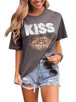 Womens Leopard Lips Print Ripped T Shirt Plus Size Short Sleeve Cheetah KISS Graphic Tops