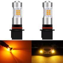 KATUR PSX26W LED Fog Light Bulbs Max 80W High Power Super Bright 2000 Lumens 3000K Amber with Projector for Driving Daytime Running Lights DRL or Fog Lights,12V -24V (Pack of 2)