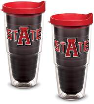 Tervis 1081811 Arkansas State Red Wolves Tumbler with Emblem and Red Lid 2 Pack 24oz, Quartz