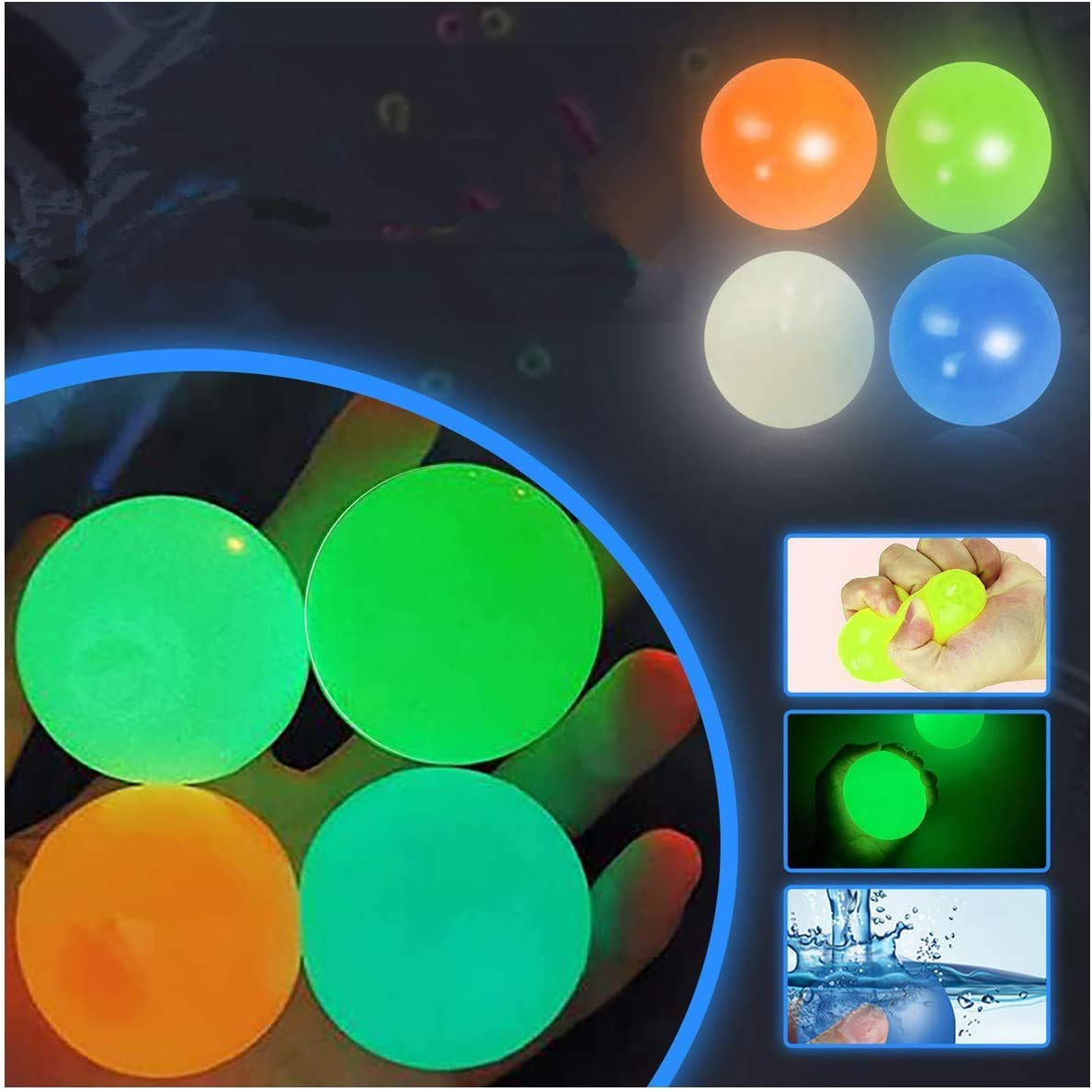 FURUDONGHAI Globbles Sticky Balls That gets Stuck on The roof,Stress Balls, Squishy Glow Stress Relief Toys, Stick to The Wall and Slowly Fall Off, Fun Toy for ADHD, OCD, Anxiety (1.77 inch, 4 pcs)