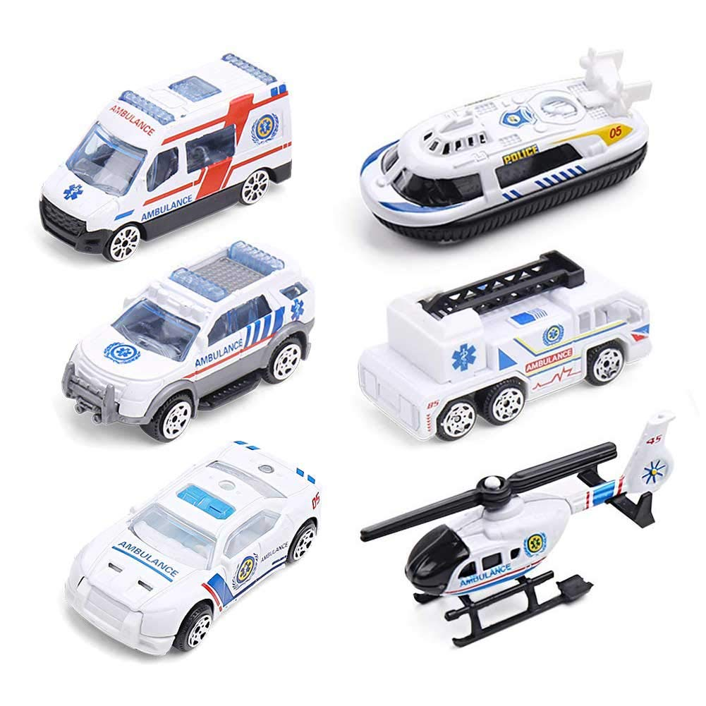 DricRoda 6 PCS Die-cast Metal Ambulance Cars, Alloy Toy Car Play Set for Kids Toddlers Boys Girls