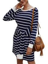 PAPOSON Womens Long Sleeve Crew Neck Striped Tie Knot Front Casual Pencil T Shirt Sweatshirt Dress