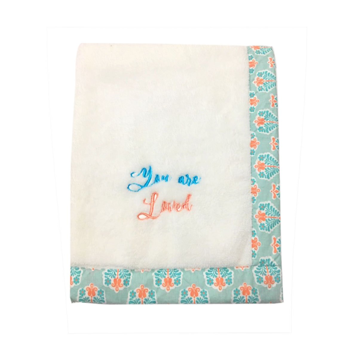Bacati - Paisley Floral Plush Embroidered 30 x 40 inches Baby Blanket (Aqua/Coral Floret White)