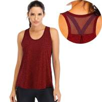 Kyerivs Workout Tank Tops for Women Loose Fit Racerback Mesh Backless Muscle Running Yoga Crop Tops