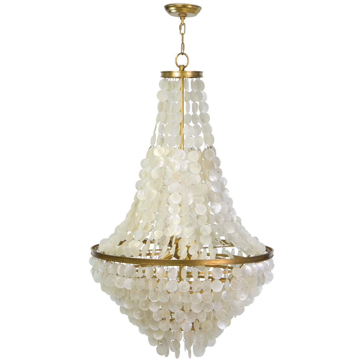 Regina Andrew Capiz Cascade Capiz Shell Chandelier | Ceiling Light Fixture with 6 Socket 40 Watts Max E12 Candelabra Base for a Bedroom or Dining Room