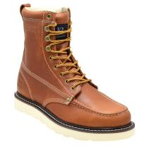 """King Rocks Work Boots 8"""" Men's Moc Toe Wedge Comfortable Leather Boot for Work and Construction"""