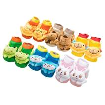 MeMo Toys Cotton Cute 3D Cartoon Anti-Skid Baby Booties Socks Slipper Shoes for Toddlers (Set of 6)