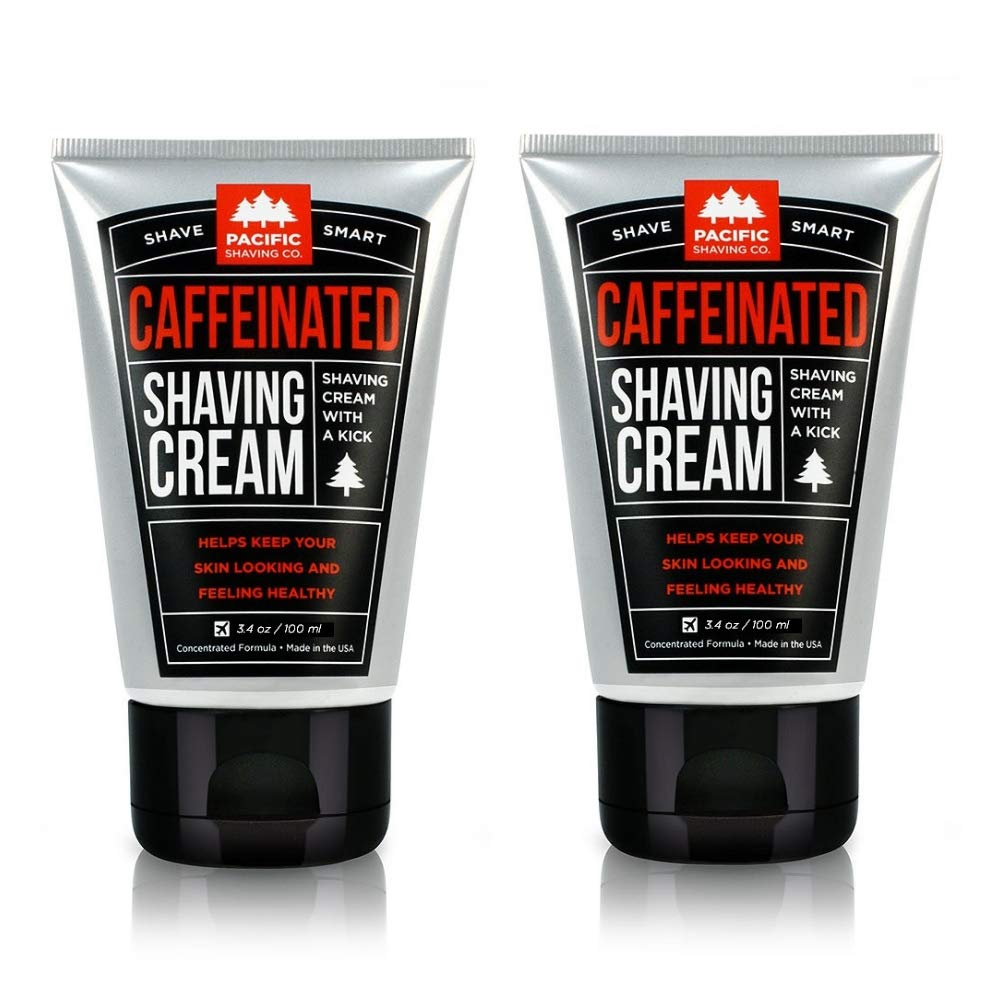 Pacific Shaving Company Caffeinated Shaving Cream - Helps Reduce Appearance of Redness, With Safe, Natural, and Plant-Derived Ingredients, Soothes Skin, No Parabens, Made in USA, 3.4 oz. (2 Pack)