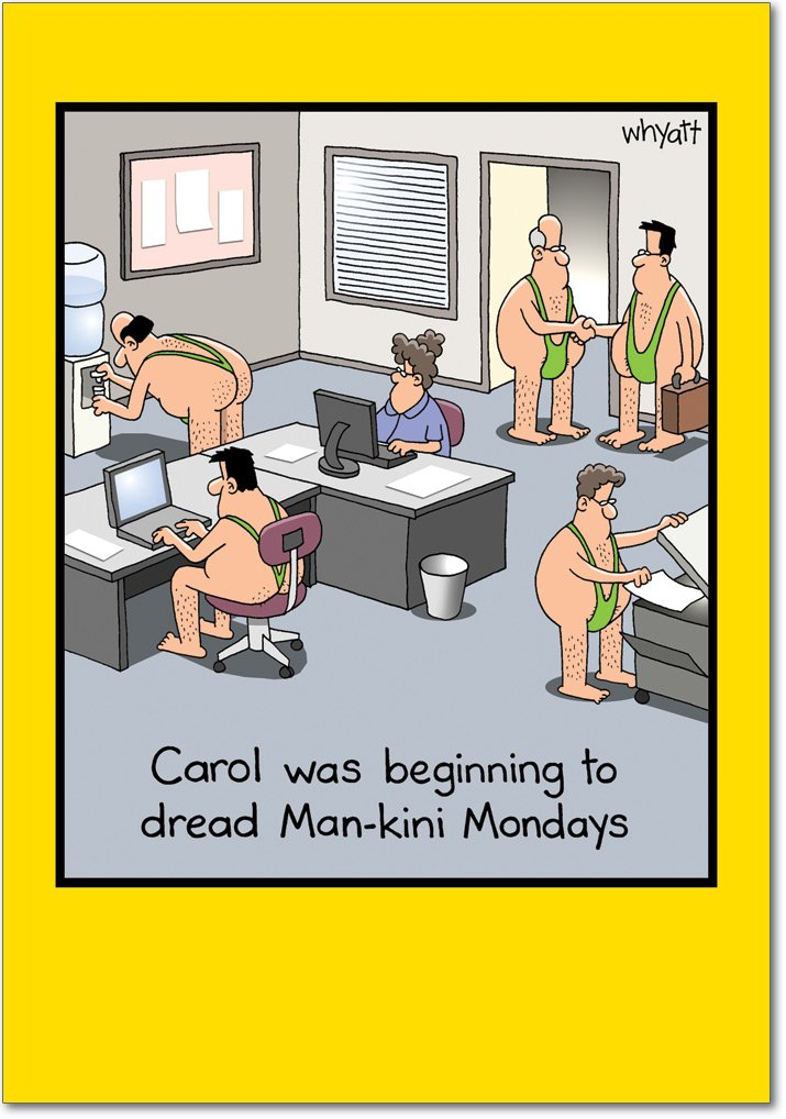 Man-kini - Humorous Office Birthday Greeting Card with Envelope (4.63 x 6.75 Inch) - Adult Humor, Birthday Note Card for Woman Coworker, Employee, Business - B-day Congratulations Stationery 8286