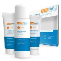 Acne Free 3 Step Acne Treatment Kit - Salicylic Acid Acne Face Wash and Alcohol-Free Toner with Benzoyl Peroxide Lotion - Anti Acne Solution for Teenagers and Adults - For Sensitive Skin