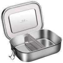Stainless Steel Leakproof Bento Lunch Box, G.a HOMEFAVOR Metal Bento Boxes with Removable Divider, 1200ML, Leak-proof Lid for Adults & Kids, Eco-Friendly