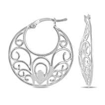 Charmsy Sterling Silver Jewelry Filigree Cut Hoop Earrings for Women Girl 26 MM