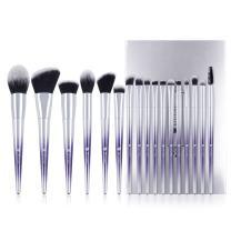 DUcare Makeup Brush Set Professional Synthetic Essential Face Eye Shadow Eyeliner Foundation Blush Lip Powder Liquid Cream Blending Brow Brushes Make Up Brushes Set (Ombré Purple&Silver, 17Pcs)
