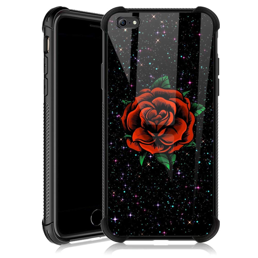 iPhone 6s Case,Red Rose Star iPhone 6 Cases for Girls,Tempered Glass Back Cover Anti Scratch Reinforced Corners Soft TPU Bumper Shockproof Case for iPhone 6/6s Starstruck Flower Color