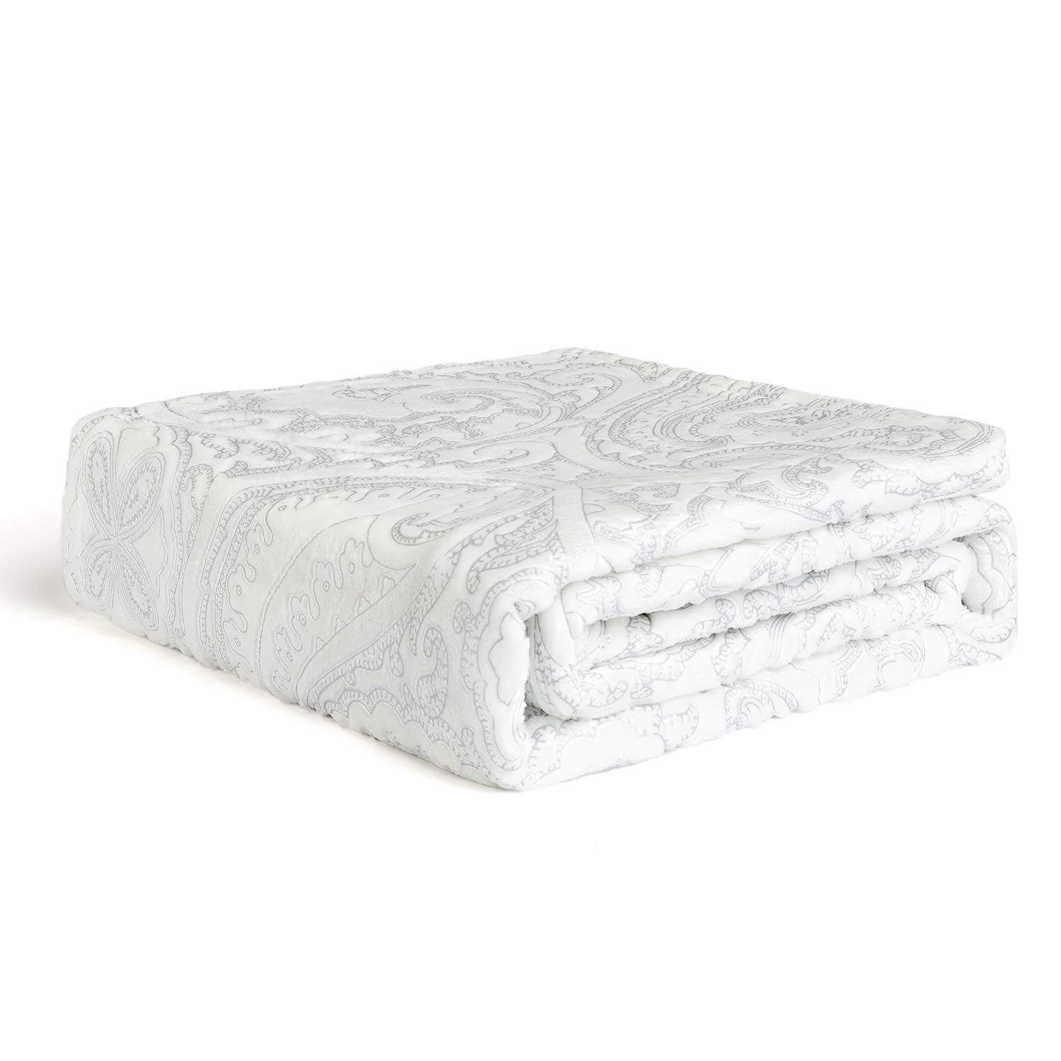 HT&PJ Vintage Carving Print Luxury Soft Warm Lazy Cozy Blanket for Bed Couch White