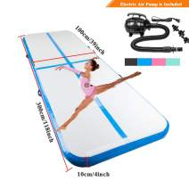 Kshioe 10'x3.3' Inflatable Air Track Tumbling Mats, Air Tumbling Track with Electric Pump Carrying Bag for Home use, Gymnastics Training, Beach Yoga Water