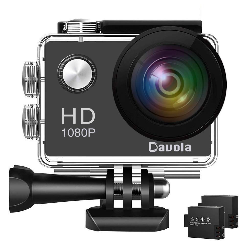 Action Camera Davola 1080P WiFi Sports Camera 12MP Underwater Waterproof Camera with Wide-Angle Lens and Mounting Accessory Kits