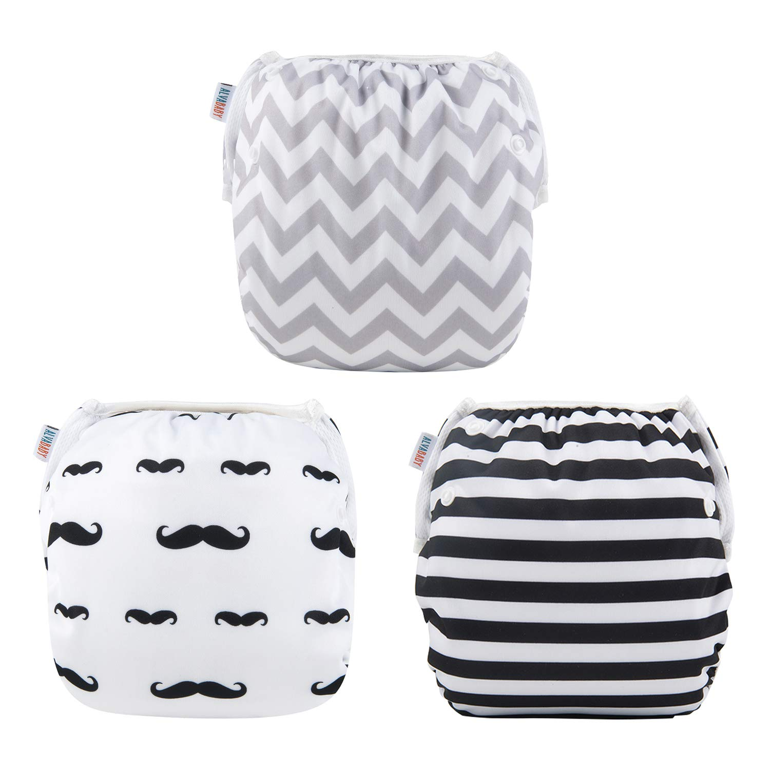 Alva Baby Swim Diapers 3pcs One Size Reuseable Washable & Adjustable for Swimming lesson & Baby Shower Gifts 3SWY01