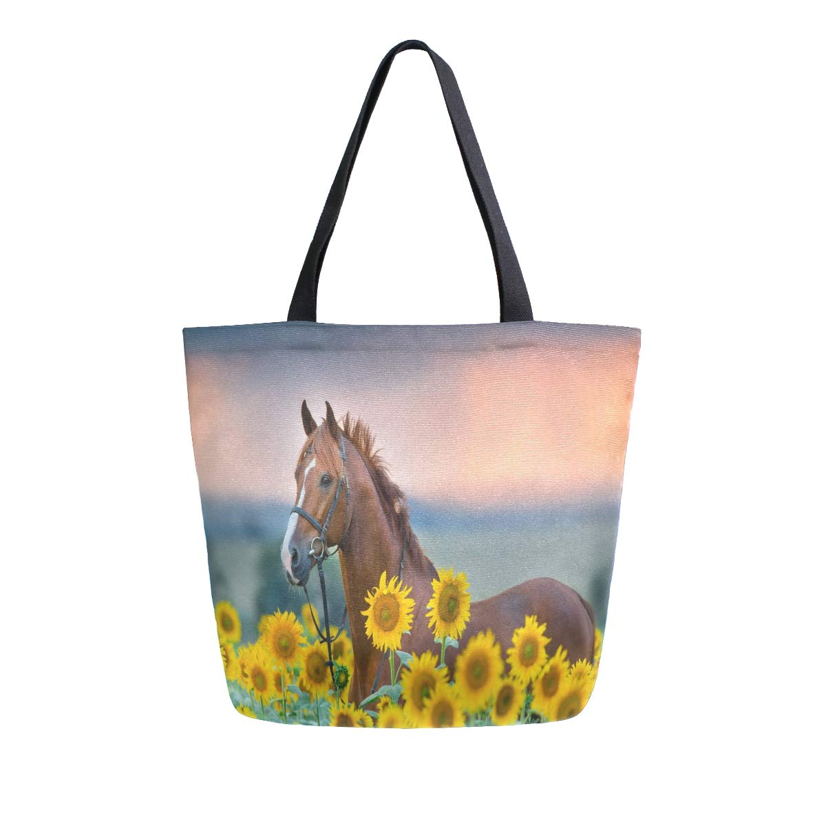 ZZXXB Sunflower Horse Reusable Grocery Shopping Bag Heavy Duty Canvas Tote Bag Large Collapsible Washable Handbag Shoulder for Women