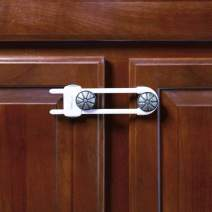 """Toddleroo by North States Sliding Cabinet Locks   Keep Side by Side cabinets Safely and securely Closed   Works on Cabinet Handles up to 4.5"""" Apart   Baby proofing with Confidence (3-Pack, White)"""
