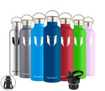 Super Sparrow Insulated Water Bottle Stainless Steel Bottles Standard Mouth Leak Proof Thermoflask 12/17/20/25/32oz Double Walled Flask with Straw Lid and Wooden/Metal Caps