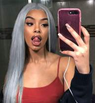 Vedar Flawless Hairline Smokey Grey Lace Front Wigs Fashion Silver Grey Hair Deep Grey Synthetic Lace Wig Silky Hair Soft Touching Straight Wigs Middle Parting 24 inch
